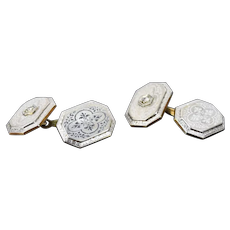 Vintage 1930's Art Deco Platinum on 14k Gold w Diamonds Cufflinks