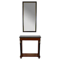French Empire Egyptian Revival Hall Console Table w Wall Mirror