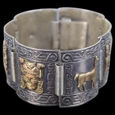 Vintage Peruvian Sterling Silver Bracelet w 18K Gold Inca Design Charms