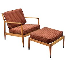Folke Ohlsson Dux Mid-Century Modern Lounge Chair & Ottoman for restoration