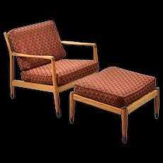 Folke Ohlsson Dux Mid-Century Modern Lounge Chair & Ottoman for restoration