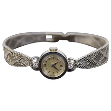 Vintage Mid-Century Modern 18k Solid White Gold Diamond Ladies Watch
