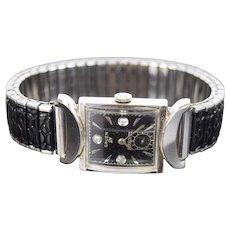 Vintage Gruen 14k White Gold Diamond Men's Veri Thin Viking Watch Orig Box