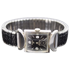 Vintage Gruen 14k White Gold Diamond Men's Veri Thin Viking Watch Orig Box