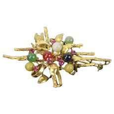 Vintage 14k Solid Yellow Gold Brooch with Semi-Precious Spheres Stones Ruby Jade