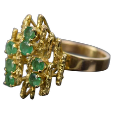 1970's Vintage Modern Brutalist 14k Solid Yellow Gold Ring with Emeralds