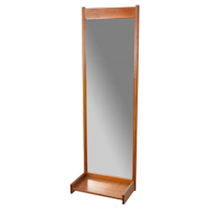 Vintage Scandinavian Modern Teak Wall Mirror with Shelf