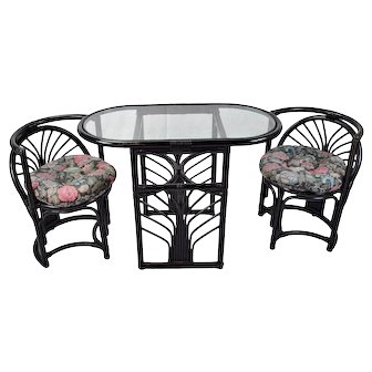 Vintage Art Deco Style Compact Diminutive Rattan Table 2 Chairs