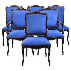 Set of Six Vintage Louis XV Style Carved Dining Chairs w/ Blue Upholstery