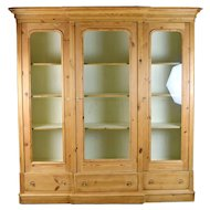 Vintage Rustic Pine Breakfront Bookcase China Curio Cabinet
