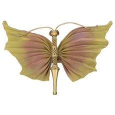 Vintage Sarah Cavender Large Painted Gold Mesh Butterfly Dragonfly Brooch