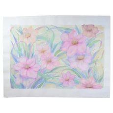 Large Color Pastel Drawing #2 Pink Blossoms Flowers Patricia McGeeney California