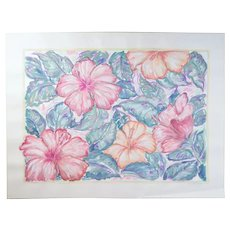 Large Color Pastel Drawing #4 Pink & Peach Hibiscus? Flowers Patricia McGeeney California