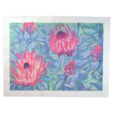 Large Color Pastel Drawing #5 Red Protea? Tropical Flowers Patricia McGeeney California