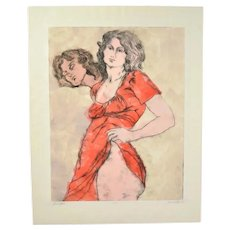 "1970's L/E Lithograph Sultry Woman Hiking Red Dress ""Jennifer"" signed Glenn"