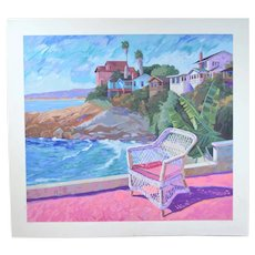 """Moss Point"" Laguna Beach California Michael Hallinan Signed L/E Lithograph"