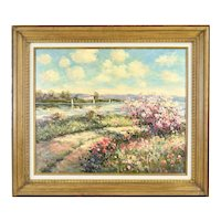 Vintage Impressionist Landscape Oil Painting Lake with Sailboats signed Misso