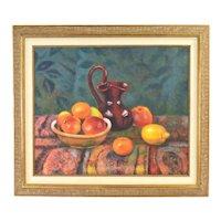 Vintage Impressionist Oil Painting Still Life Apples Oranges Lemon w Pitcher signed