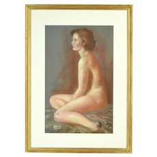 Vintage 1970's Pastel Painting Profile of Nude Brunette signed Beverly