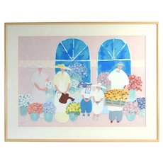 Jim Hill 1987 Artist's Proof Serigraph Flower Vendors w Children Helpers