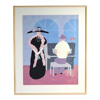 Jim N. Hill Limited Edition Serigraph Fashionable Diva Song Recital w Piano