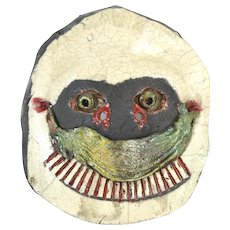 Vintage Surrealist Pottery Bizarre Face Mask Wall Sculpture John Allen