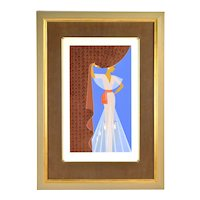 """Erte """"The Curtain"""" Art Deco Woman in Diaphanous Gown Limited Edition Serigraph"""