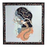 """Vintage Erte """"Tiger Lily"""" Art Deco Framed Silk Scarf"""