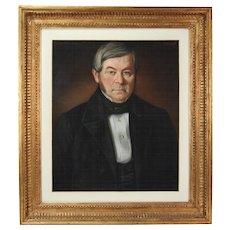 1853 Fine French Pastel Painting Portrait Gentleman Black Waistcoat signed Touze