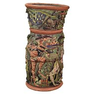 Monumental Michael Gross Art Pottery Vessel Fun Cavalcade of Grotesque Figures
