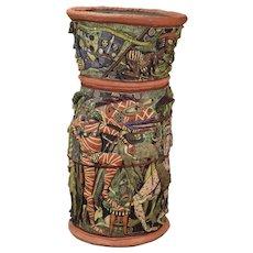 Monumental Michael Gross Art Pottery Vessel Fun Cavalcade of Grotesque Figures