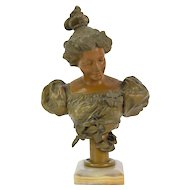 Antique Art Nouveau Spelter Bronze Bust of Contemplative Beauty