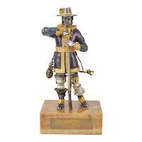 L/E Italian Gilt Bronze 17th C. Nobleman of Amsterdam w Blunderbuss Danesin