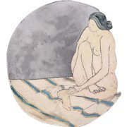 1976 Art Pottery Double-Sided Bowl Nude Woman seated New Mexico artist