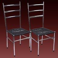 Pair Italian Mid Century Modern Gio Ponti Style Side Dining Chairs