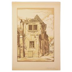 Camille Beltrand - Old House in Thann 1920 Wood Engraving Gazette des Beaux Arts