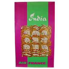 Original Abstract 1960s Vintage Air France Poster India Georges Mathieu