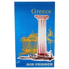 Original Abstract 1960s Vintage Air France Poster Greece Georges Mathieu