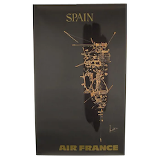 Original Abstract 1960s Vintage Air France Poster Spain Georges Mathieu