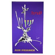 Original Abstract 1960s Vintage Air France Poster Israel Georges Mathieu