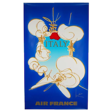Original Abstract 1960s Vintage Air France Poster Italy Georges Mathieu