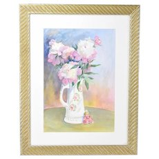 Original Watercolor Floral Still Life Pitcher w Doll Illinois Artist Laureate Kay Smith