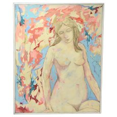 Vintage Oil Painting Nude Woman Among Abstracted Flowers Signed T. Masin