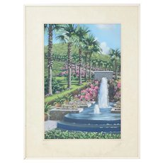 Fine Pastel Painting Palm Trees Fountain Blossoms Rae Gibbs Virgin Islands