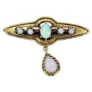 Vintage Victorian Style 14k Yellow Gold Tear Drop Fire Opal Pendant Pin Brooch