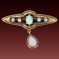 Vintage Victorian Style 14k Yellow Gold Tear Drop Fire Opal Pendant Pin Brooch