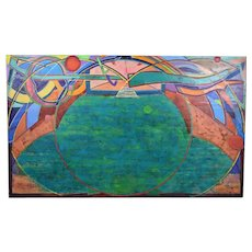 """1989 Large Abstract Painting """"Vessel of Light #43"""" Martin Facey California Artist"""