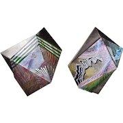Elizabeth Austin Asch Polygon Metal Reverse Painted Lucite Wall Sculptures