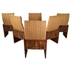 Set of Six Mid-Century Modern Lane Brutalist Dining Chairs