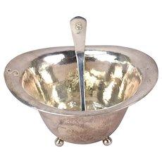 Lebolt Shop Chicago Arts & Crafts Hand Hammered Sterling Silver Bowl w Ladle